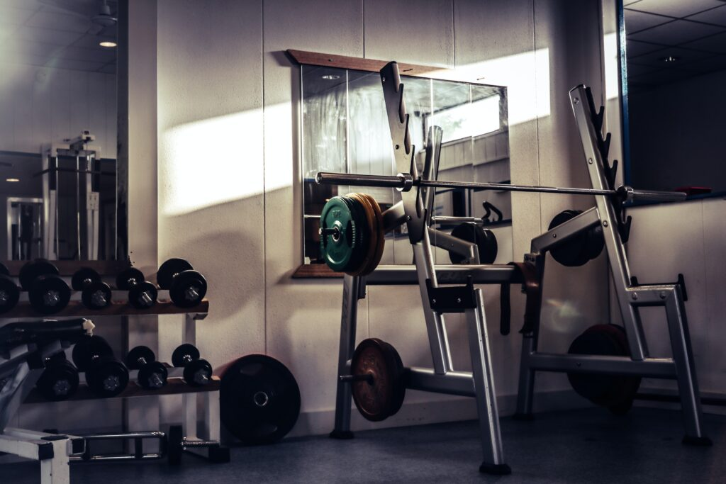 squat rack and weight plates